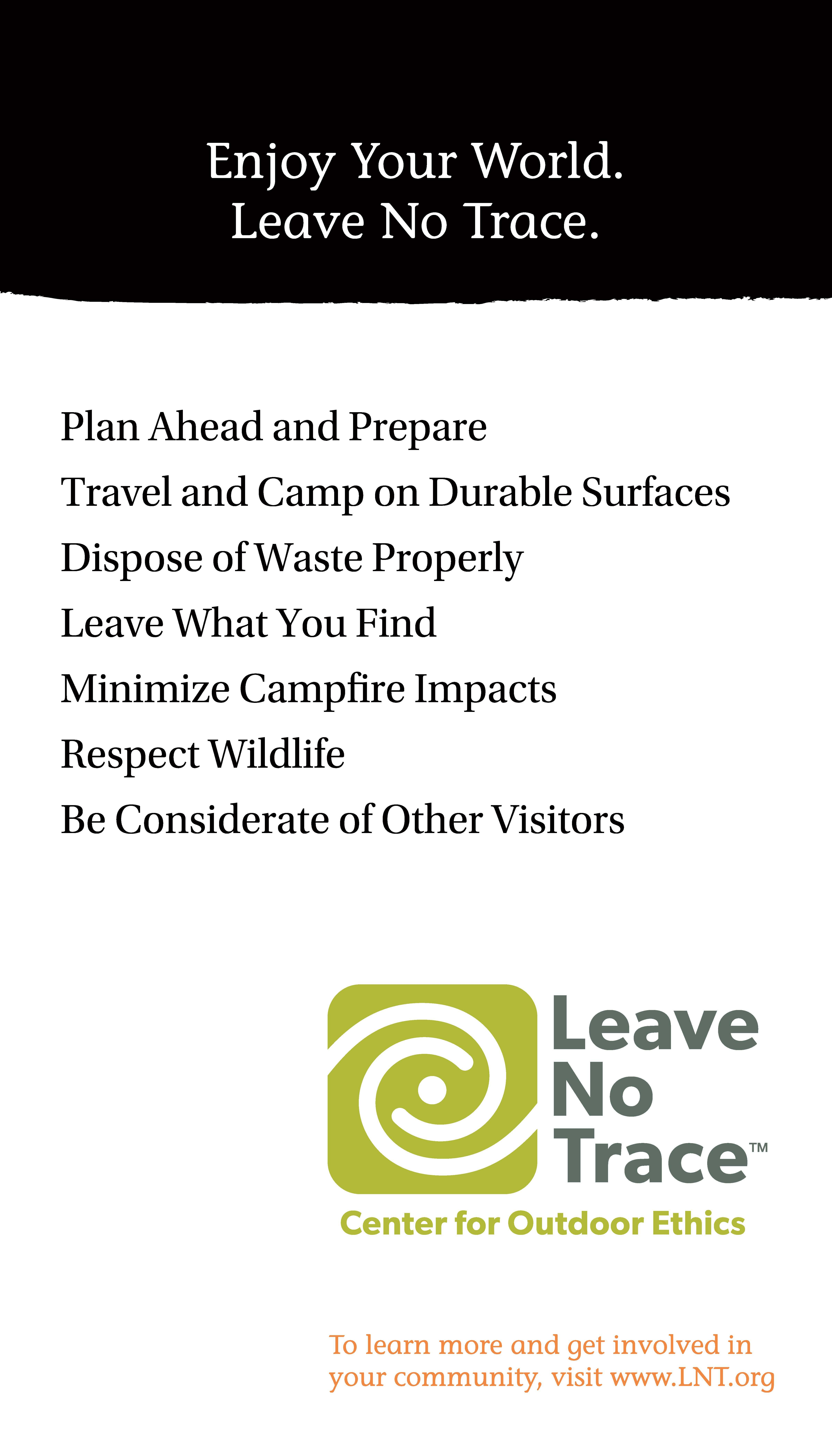 picture relating to Leave No Trace Printable identified as Posters Depart No Hint