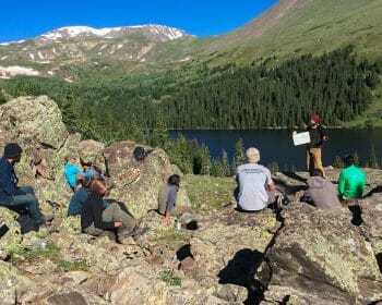 Leave No Trace Master Educator providing training in backcountry setting