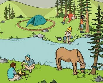 Cartoon of people camping by river in forest alongside others who have a small campfire and a hitched horse