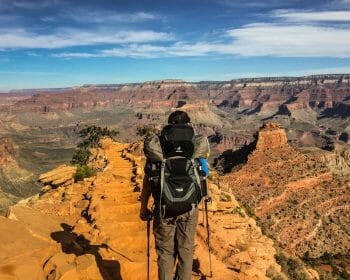 Hiker looking out over a canyon