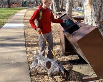 Man walking dog throwing away it's poop in a garbage can