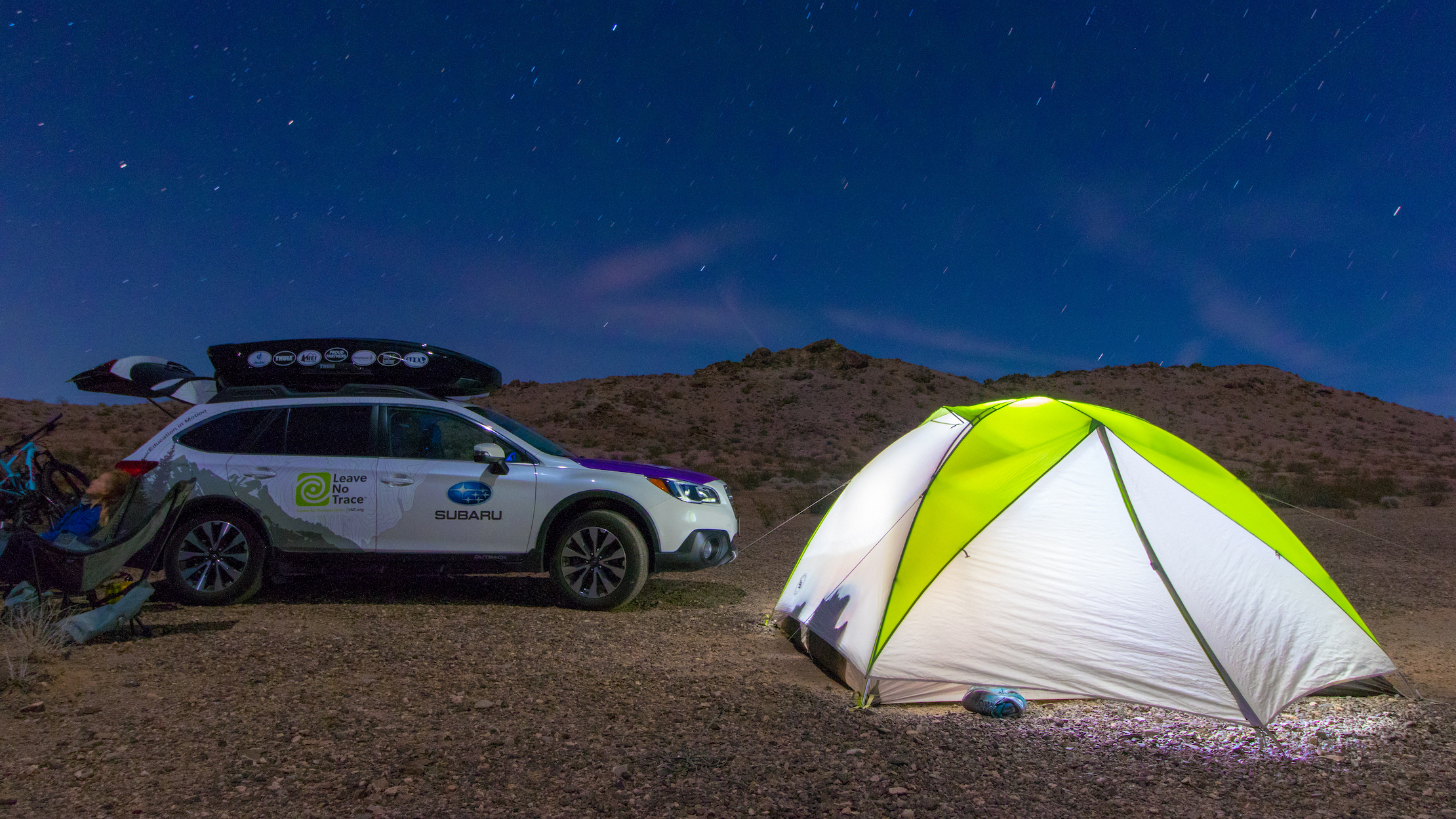 Leave No Trace car tent campers desert california